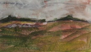 """Oil and cold wax on paper 5"""" X 9"""" $150 framed"""