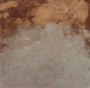 """Blue Brown 6"""" x 6"""" Oil and cold wax on Arches paper"""