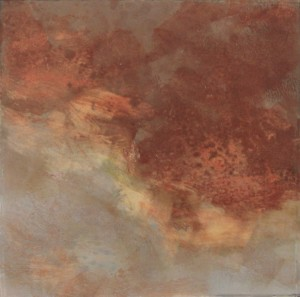 """Brown Blue 6"""" X 6"""" Oil and cold wax on arches paper"""