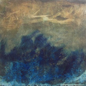 """Tiny Land 6"""" X 6"""" Oil and cold wax on Arches paper"""